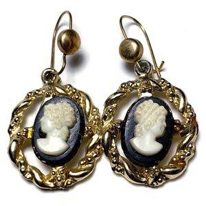 Vintage Cameo Pierced Hook Earrings